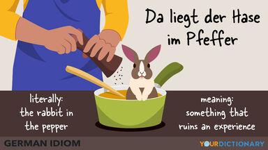 german idiom da liegt der Hase im pfeffer the rabbit in the pepper