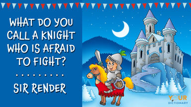 puns for kids with a cartoon knight