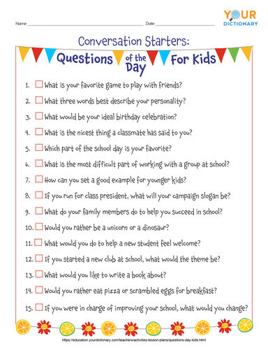questions of the day printable