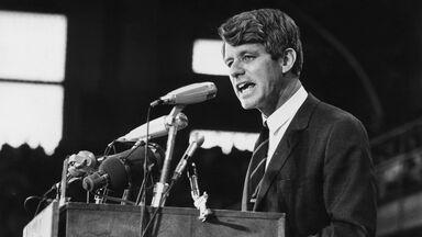 1968 Senator Robert Kennedy speaking at an election rally