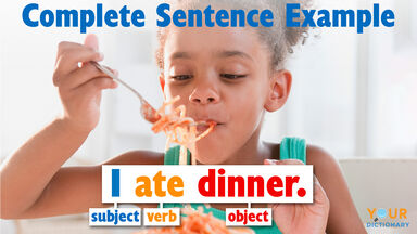 complete sentence example subject verb object