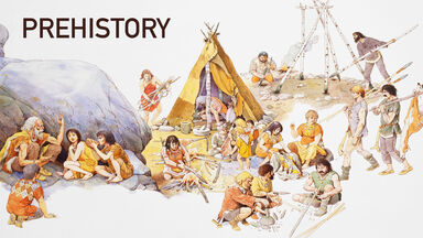 prehistory showing men and women working