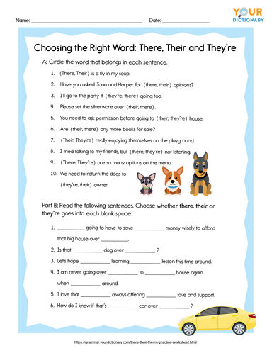 printable worksheet there their they're