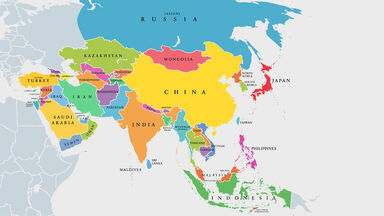 map of asian countries