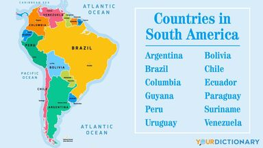 map of countries in south america
