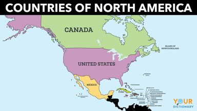 countries of north america map