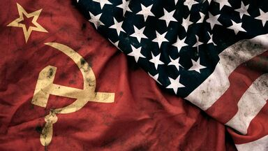 cold war flags soviet union and united states of america