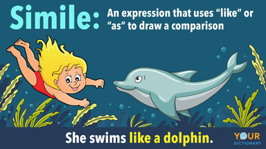 definition simile swims like a dolphin