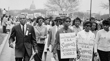 Group of People Demonstrating on Behalf of School Integration 1959
