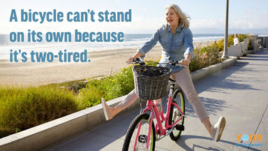 pun woman bicycle can't stand two tired