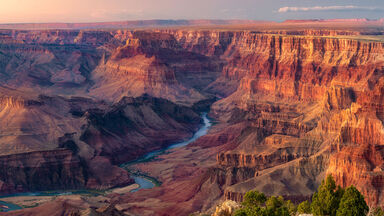 sunset overlooking Colorado River in the Grand Canyon