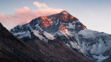 Mt Everest north face from the Rongbuk Monastery China