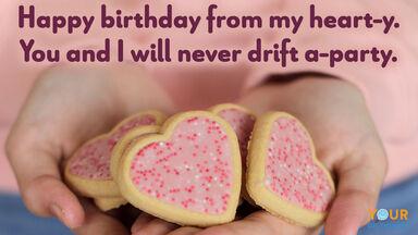 birthday pun heart-y cookies