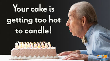 birthday pun cake is getting too hot to candle