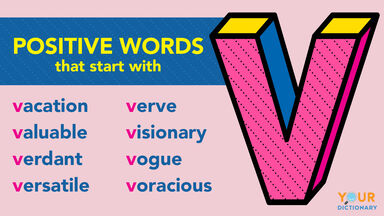 Positive V words examples