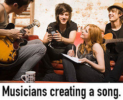 Musicians creating a song as iteration examples