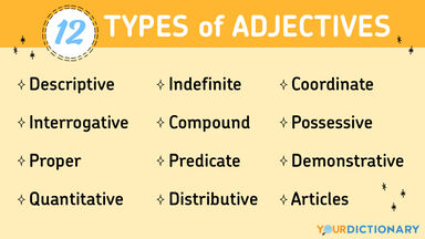 12 types of adjectives list