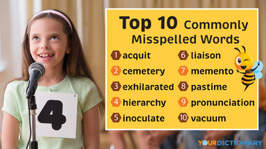 Girl in Spelling Bee as Example Most Often Misspelled Words in English