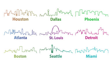 Large cities in the United States