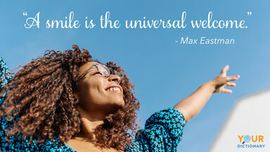 Smiling woman as Welcome Quote