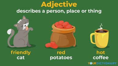 adjective friendly cat red potatoes hot coffee