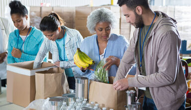 humanitarian act volunteers food bank