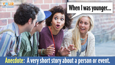 woman telling anecdote to friends when I was younger