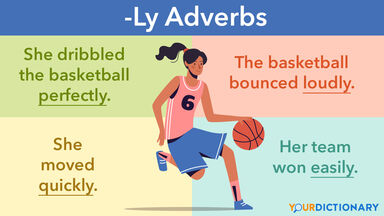 Woman Plays Basketball Examples Adverbs Ending with ly