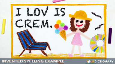 Children Drawing Invented Spelling