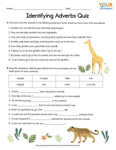 identifying adverbs quiz worksheet