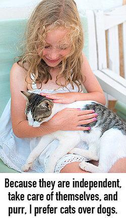 Girl petting cat as periodic sentence examples