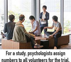 Volunteers for a trial as random sampling examples