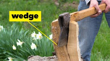 Simple machine wedge axe splitting wood