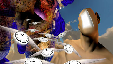 surrealism in literature showing flying time