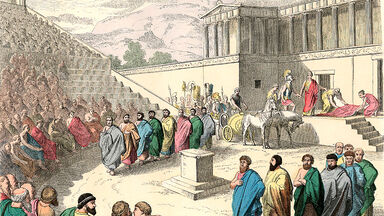 greek theatre production of the tragedy agamemnon