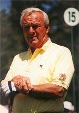 Arnold Palmer concentrating in close-up shot