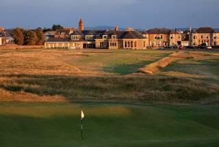 The par 4 18th hole at Prestwick Golf Club