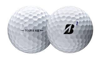 Closeup of Bridgestone Tour B XS golf ball