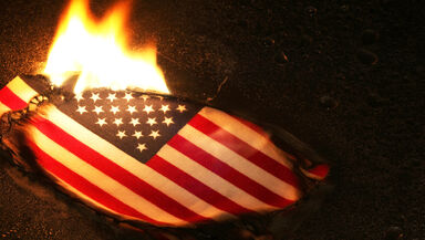burning american flag