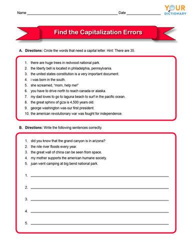 find the capitalization errors worksheet 3rd grade