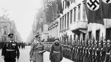 Adolf Hitler and Hermann Goering troops lined up