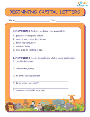beginning capital letters worksheet