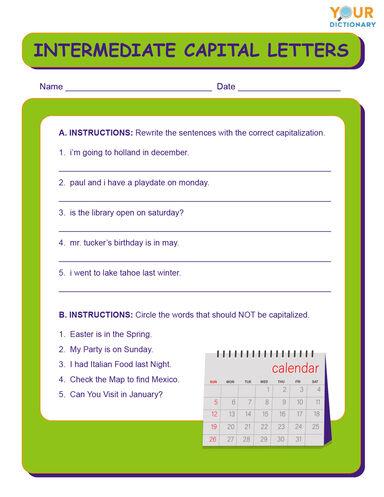 intermediate capital letters worksheet