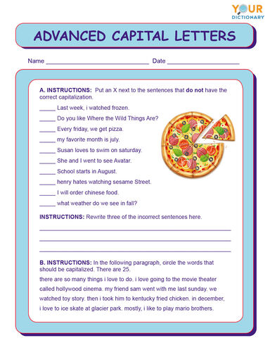 advanced capital letters worksheets