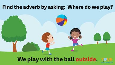 adverb tip kids playing outside