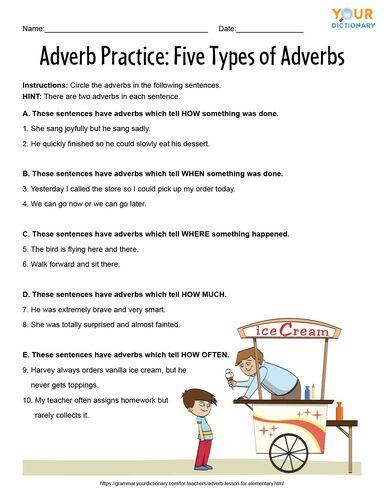 adverb worksheet 5 types