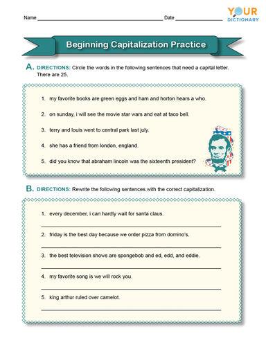 beginning capitalization practice worksheet