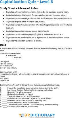 capitalization quiz B questions