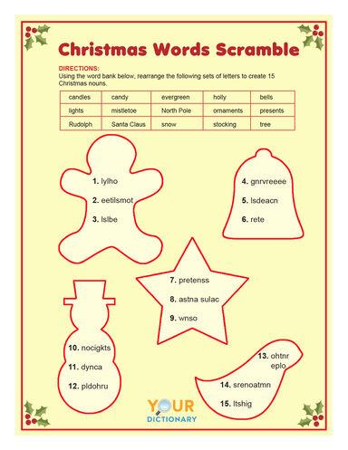 Christmas words scramble printable