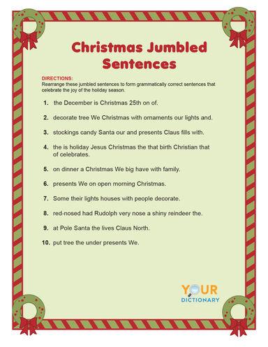 christmas jumbled sentences word scramble game